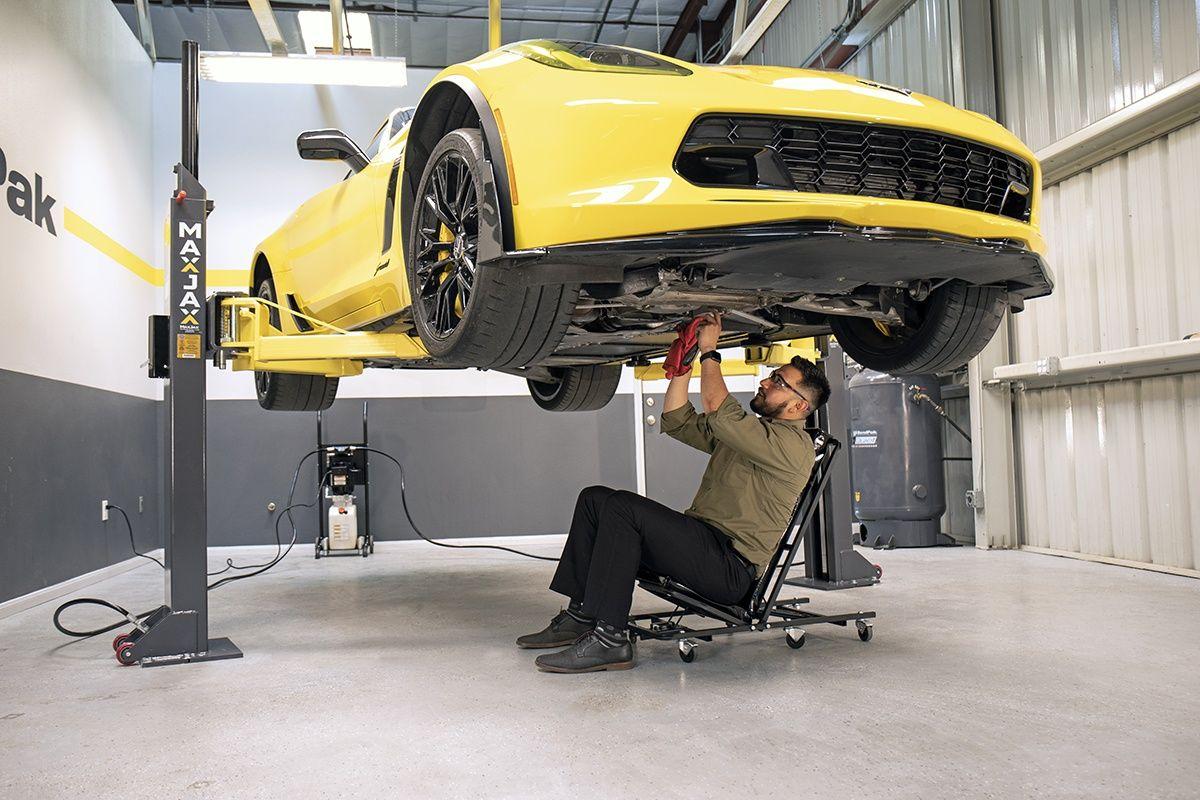 Working under the MaxJax car lift
